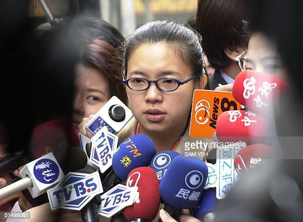 Chu Meifeng former Taipei city councillor speaks to the press 25 December 2001 on the xrated compact discs allegedly starring a woman politician and...