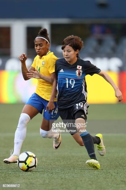 Chu of Brazil and Hikaru Kitagawa of Japan during the 2017 Tournament Of Nations match between Japan and Brazil at CenturyLink Field on July 27 2017...