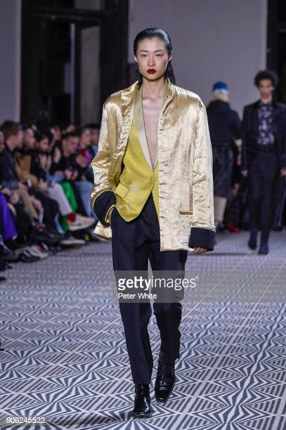 Chu Wong walks the runway during the Haider Ackermann Menswear Fall/Winter 20182019 show as part of Paris Fashion Week on January 17 2018 in Paris...