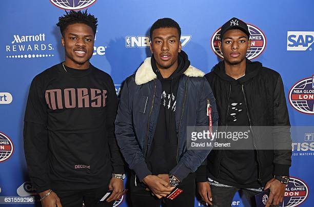 Chuba Akpom Alex Iwobi and Jeff ReineAdelaide attend the Denver Nuggets v Indiana Pacers game during NBA Global Games London 2017 at The O2 Arena on...