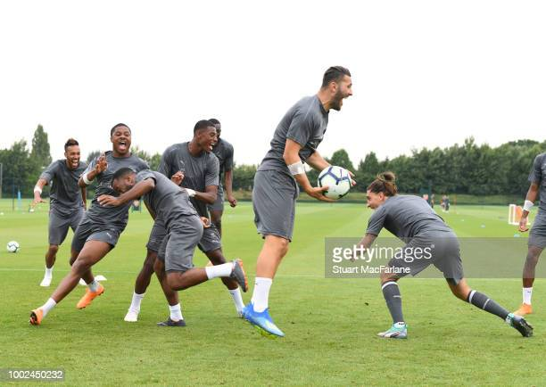 Chuba Akpom Alex Lacazette Jeff ReineAdelaide Sead Kolasinac and Hector Bellerin of Arsenal during a training session at London Colney on July 20...