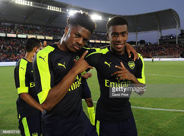 Chuba Akpom and Alex Iwobi of Arsenal after the match between Arsenal and CD Guadalajara at StubHub Center on July 31 2016 in Carson California