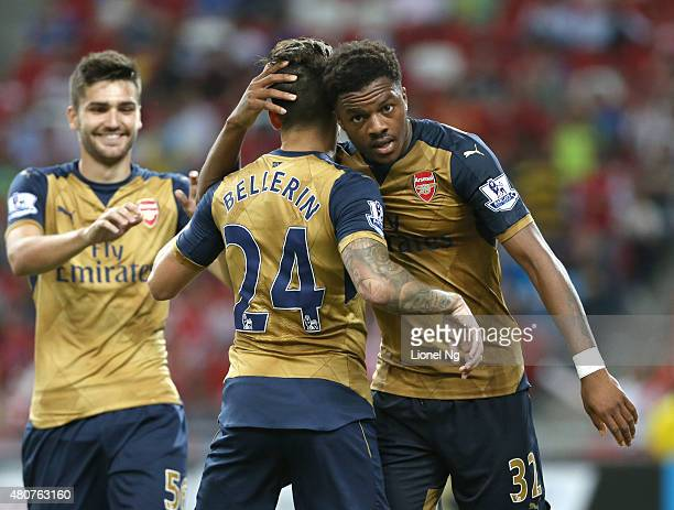 Chuba Akpom celebrates after completing a hattrick during the Barclays Asia Trophy match between Arsenal and Singapore Select XI at National Stadium...