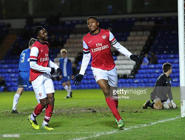 Chuba Akpom celebrates scoring Arsenal's 2nd goal during the FA Youth Cup Fourth Round match between Peterborough United U18 and Arsenal U18 at...