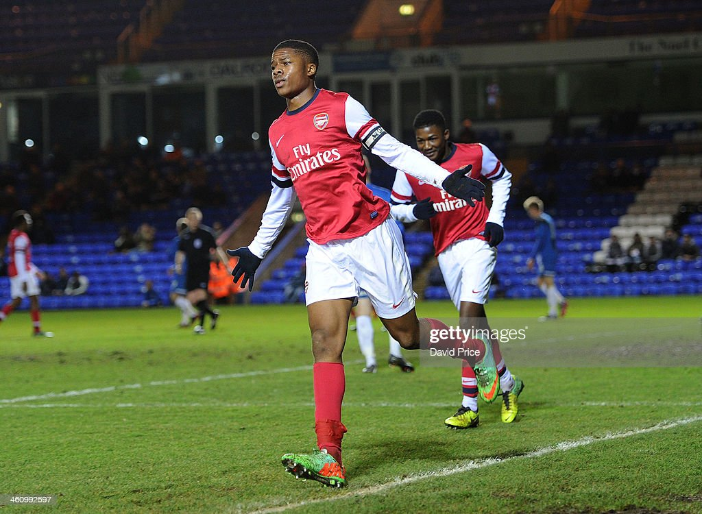 Chuba Akpom Celebrates Scoring Arsenal's 2nd Goal During