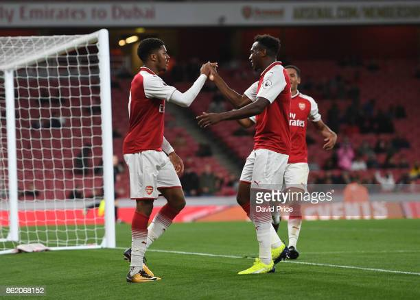 Chuba Akpom celebrates scoring Arsenal's 2nd goal with Tolaji Bola during the Premier League 2 match between Arsenal and Sunderland at Emirates...