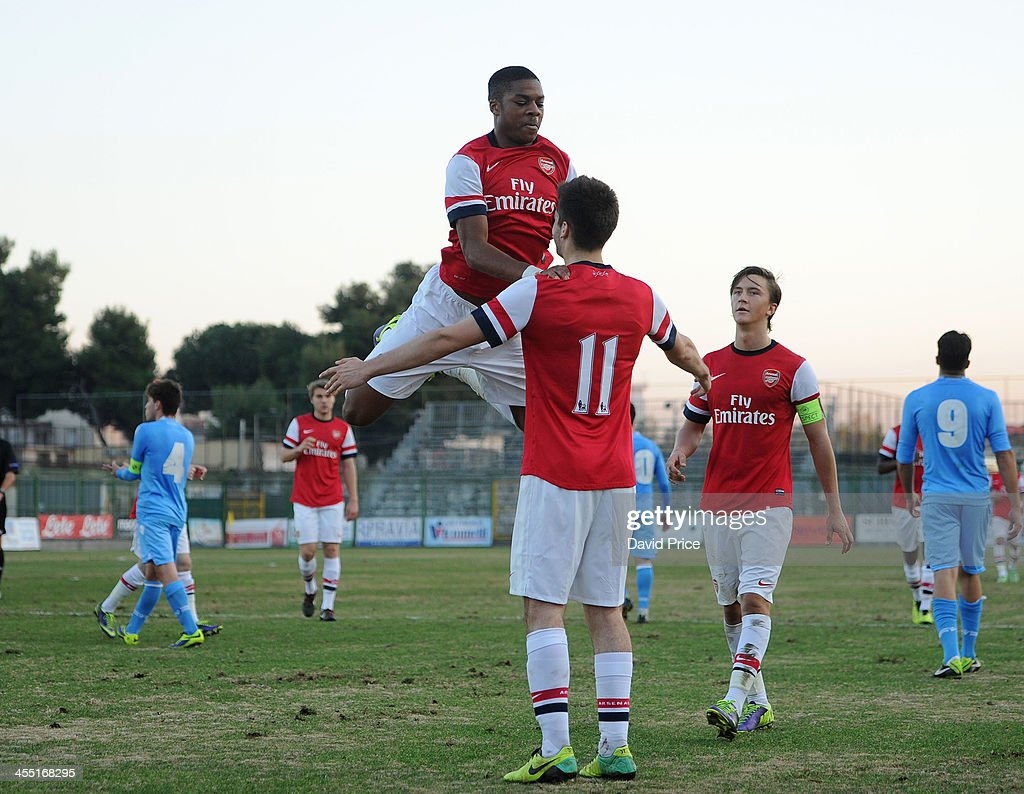 Chuba Akpom Celebrates Scoring Arsenal's Goal With Jon