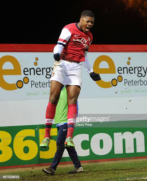 Chuba Akpom celebrates scoring his 2nd goal for Arsenal during the match between Peterborough United U18 and Arsenal U18 in the FA Youth Cup 4th...