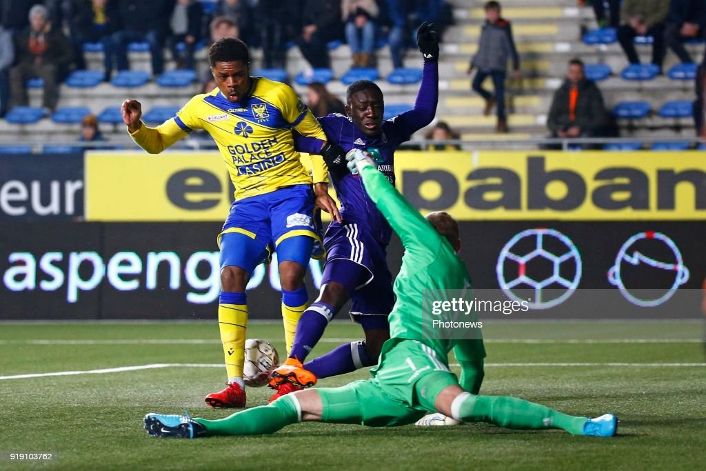 Chuba Akpom Forward Of STVV And Matz Sels Goalkeeper Of