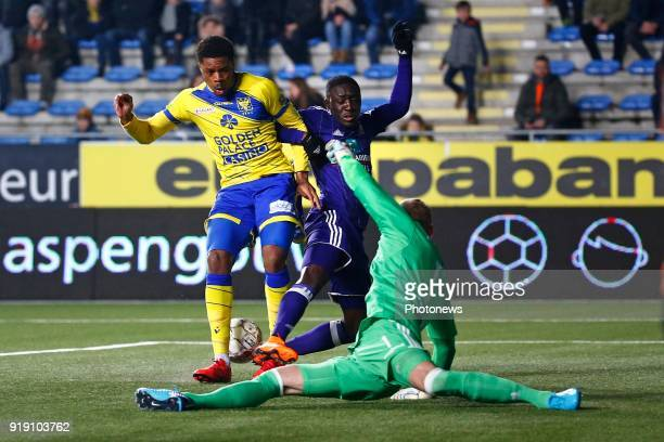 Chuba Akpom forward of STVV and Matz Sels goalkeeper of RSC Anderlecht and Dennis Appiah defender of RSC Anderlecht pictured during the Jupiler Pro...