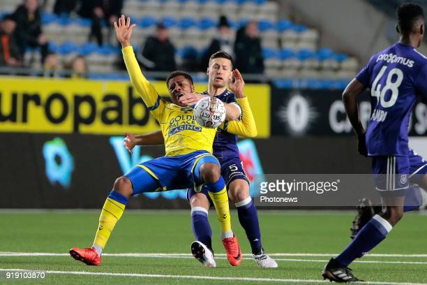 Chuba Akpom forward of STVV and Uros Spajic defender of RSC Anderlecht pictured during the Jupiler Pro League match between STVV and RSC Anderlecht...
