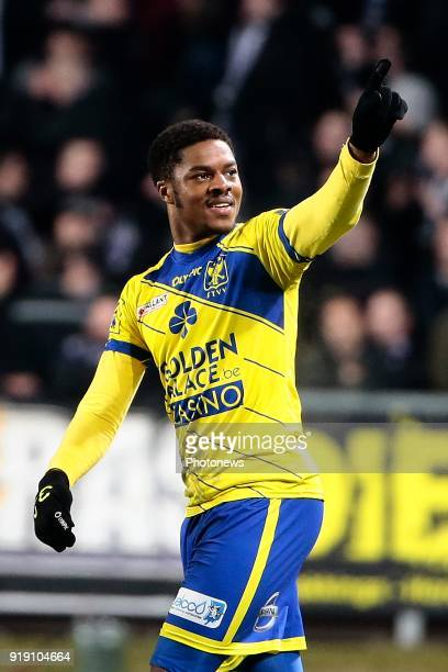 Chuba Akpom forward of STVV celebrates scoring the opening goal pictured during the Jupiler Pro League match between STVV and RSC Anderlecht at the...