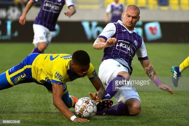 Chuba Akpom forward of STVV Denis Prychynenko of Beerschot Wilrijk during the Jupiler Pro League play off 2 match between K SintTruidense VV and...