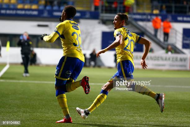 Chuba Akpom forward of STVV scores and celebrates pictured during the Jupiler Pro League match between STVV and RSC Anderlecht at the Stayen Stadium...