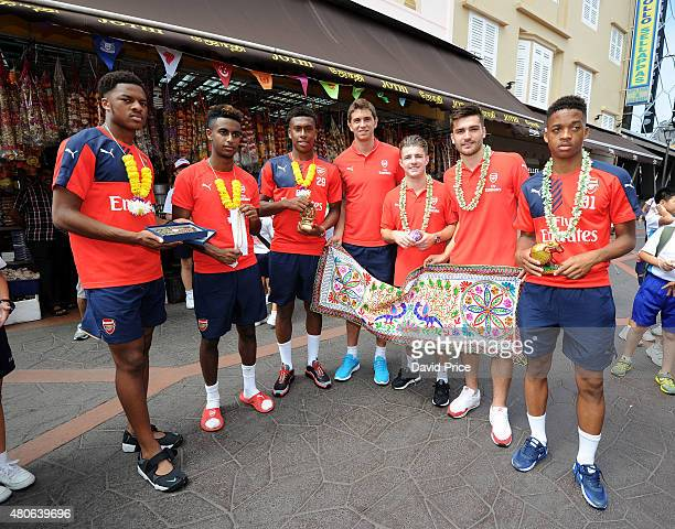 Chuba Akpom Gedion Zelalem Alex Iwobi Emiliano Martinez Dan Crowley Jon Toral and Chris Willock of Arsenal explores the Little India area of...