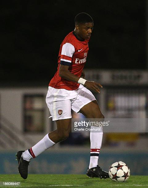 Chuba Akpom of Arsenal attacks during the UEFA Youth League match between Arsenal U19 and Borussia Dortmund U19 at Meadow Park on October 23 2013 in...