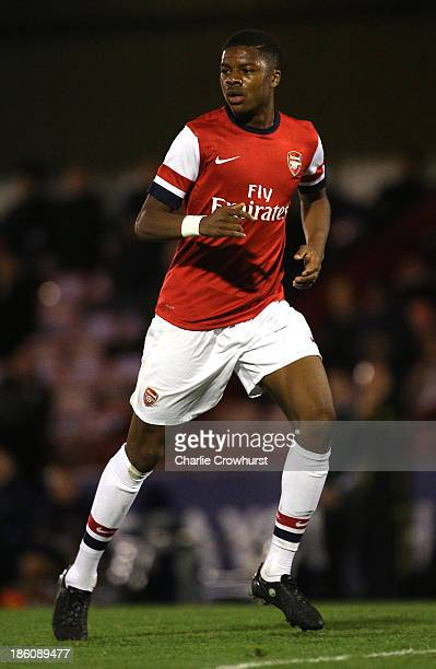 Chuba Akpom of Arsenal attacks during the UEFA Youth League match between Arsenal U19 and Borussia Dortmund U19 at Meadow Park on October 23, 2013 in...