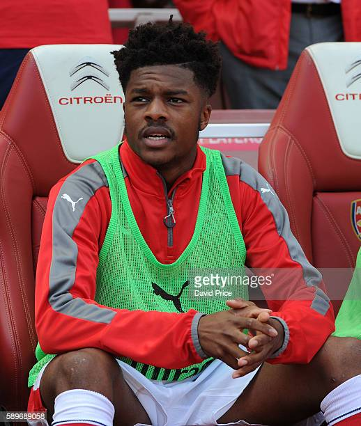 Chuba Akpom of Arsenal before the Premier League match between Arsenal and Liverpool at Emirates Stadium on August 14 2016 in London England