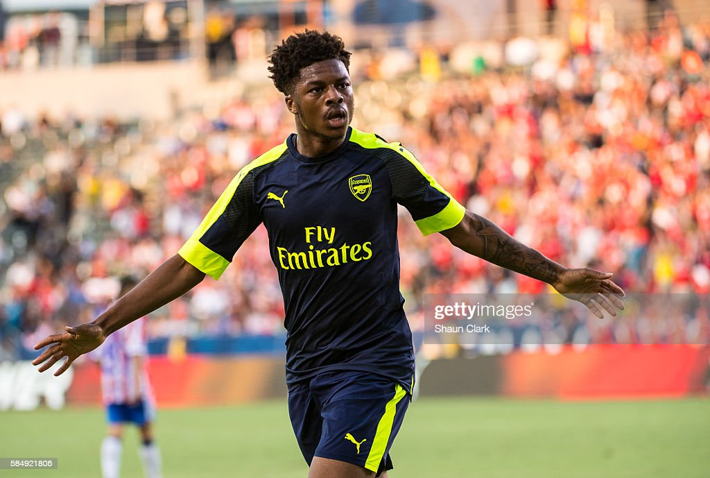Chuba Akpom Of Arsenal Celebrates After Scorinh A Goal