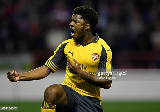 Chuba Akpom of Arsenal celebrates after winning a penalty which lead to his sides second goal during the EFL Cup Third Round match between Nottingham...