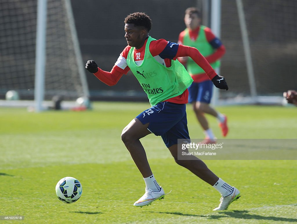 Chuba Akpom of Arsenal during a training session at London Colney on March 20, 2015 in St Albans, England.