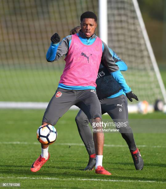 Chuba Akpom of Arsenal during a training session at London Colney on January 6 2018 in St Albans England