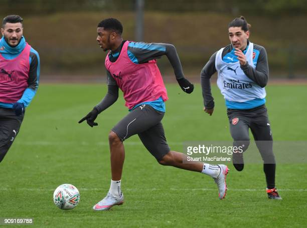 Chuba Akpom of Arsenal during a training session at London Colney on January 23 2018 in St Albans England