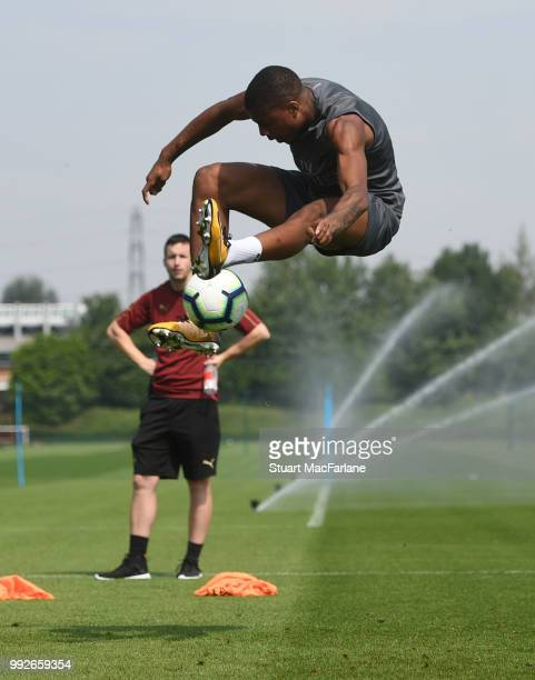 Chuba Akpom of Arsenal during a training session at London Colney on July 6 2018 in St Albans England