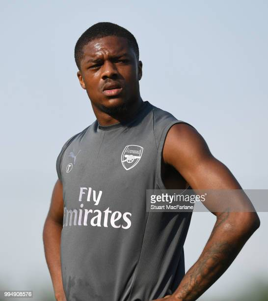 Chuba Akpom of Arsenal during a training session at London Colney on July 9 2018 in St Albans England