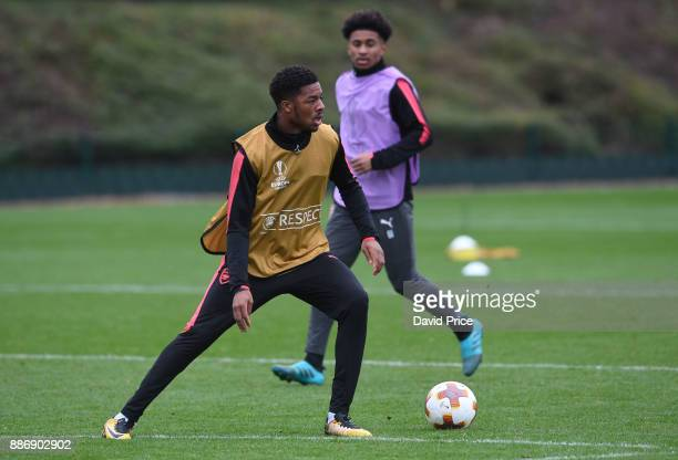 Chuba Akpom of Arsenal during the Arsenal Training Session at London Colney on December 6 2017 in St Albans England