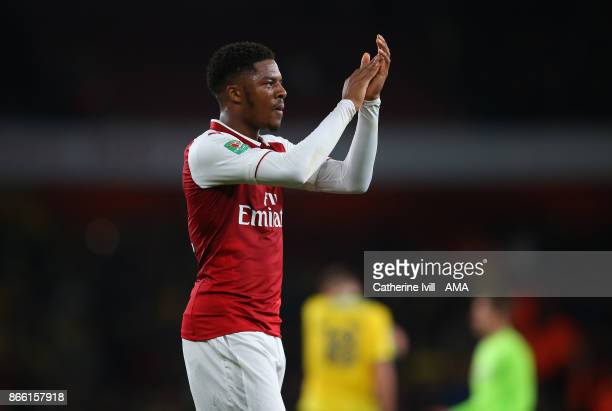 Chuba Akpom of Arsenal during the Carabao Cup Fourth Round match between Arsenal and Norwich City at Emirates Stadium on October 24, 2017 in London,...
