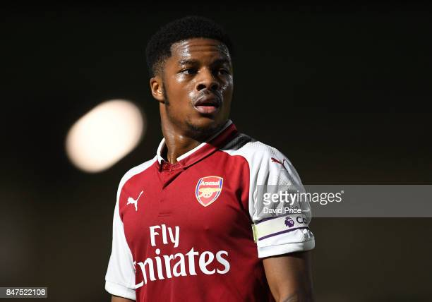 Chuba Akpom of Arsenal during the match between Arsenal U23 and Leicester City U23 at Meadow Park on September 15, 2017 in Borehamwood, England.