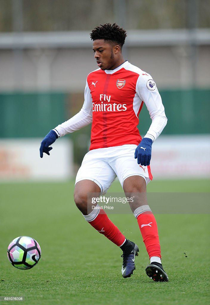 Chuba Akpom of Arsenal during the match between Arsenal U23 and Derby County U23 at London Colney on January 6, 2017 in St Albans, England.