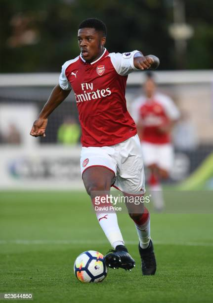 Chuba Akpom of Arsenal during the match between Boreham Wood and Arsenal XI at Meadow Park on July 27 2017 in Borehamwood England