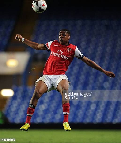 Chuba Akpom of Arsenal during the match between Chelsea and Arsenal in the FA Youth Cup Semi Final 1st Leg at Stamford Bridge on April 10 2014 in...