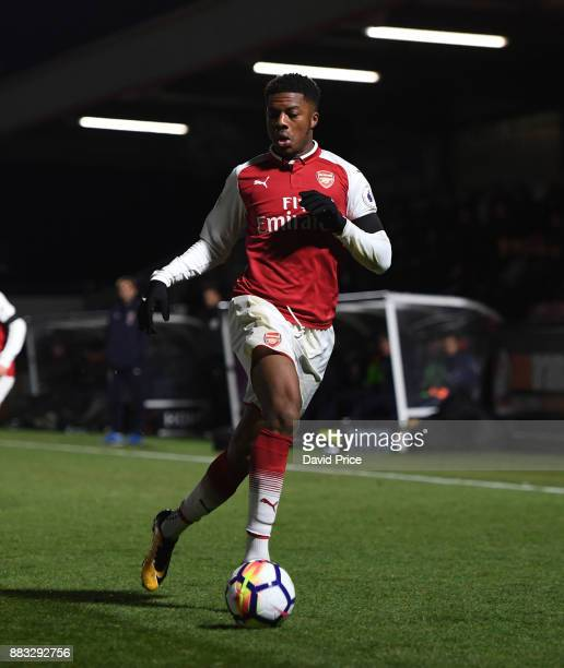 Chuba Akpom of Arsenal during the Premier League International Cup match between Arsenal and Reading at Meadow Park on November 30 2017 in...