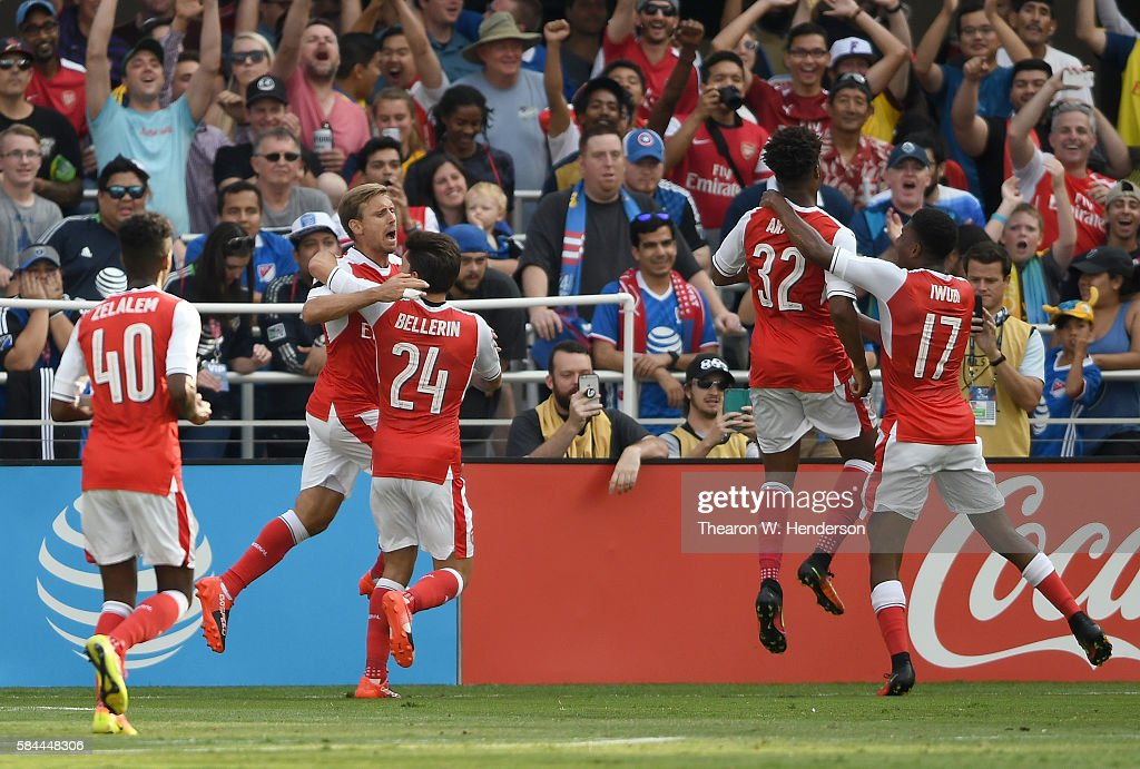 Chuba Akpom Of Arsenal FC Celebrates With Teammates, Alex