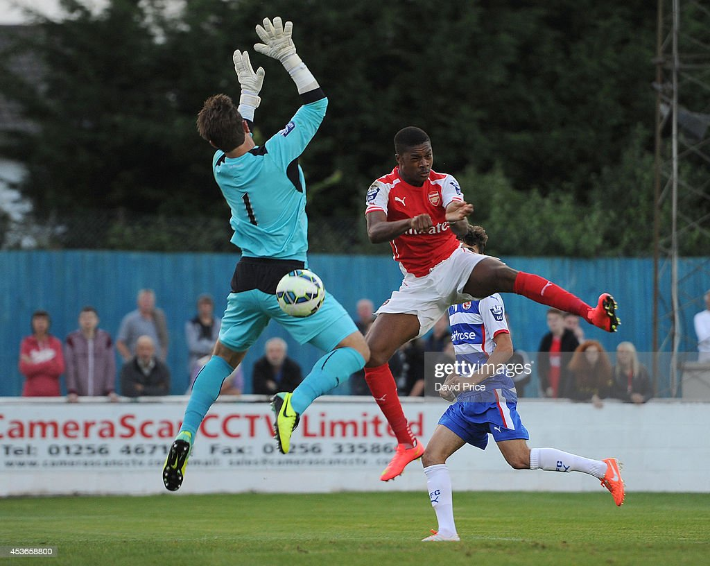 Chuba Akpom Of Arsenal Heads The Ball Past Daniel Lincoln
