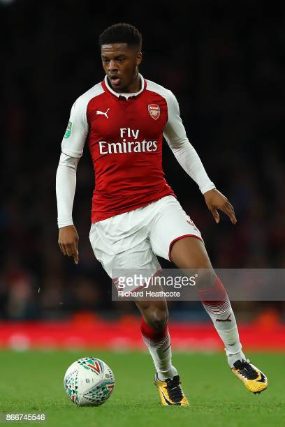 Chuba Akpom of Arsenal in action during the Carabao Cup Fourth Round match between Arsenal and Norwich City at Emirates Stadium on October 24 2017 in...