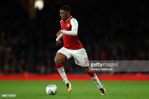 Chuba Akpom of Arsenal in action during the Carabao Cup Fourth Round match between Arsenal and Norwich City at Emirates Stadium on October 24, 2017...