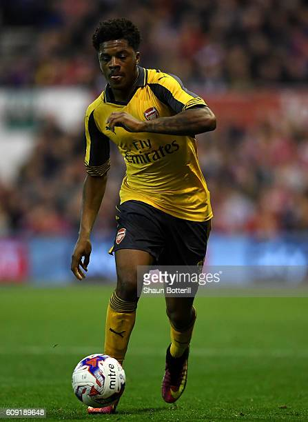 Chuba Akpom of Arsenal in action during the EFL Cup Third Round match between Nottingham Forest and Arsenal at City Ground on September 20 2016 in...