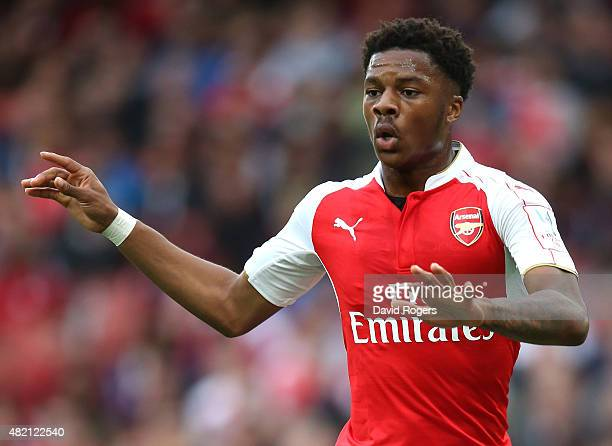 Chuba Akpom of Arsenal looks on during the Emirates Cup match between Arsenal and VfL Wolfsburg at the Emirates Stadium on July 26, 2015 in London,...