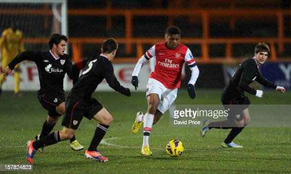 Chuba Akpom Of Arsenal Takes On Ager Aqueche, Ander Artabe