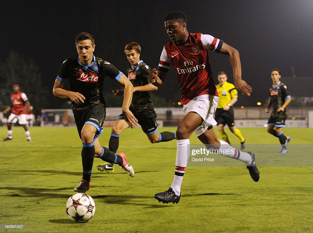 Chuba Akpom Of Arsenal Takes On Michele Girardi Of Napoli
