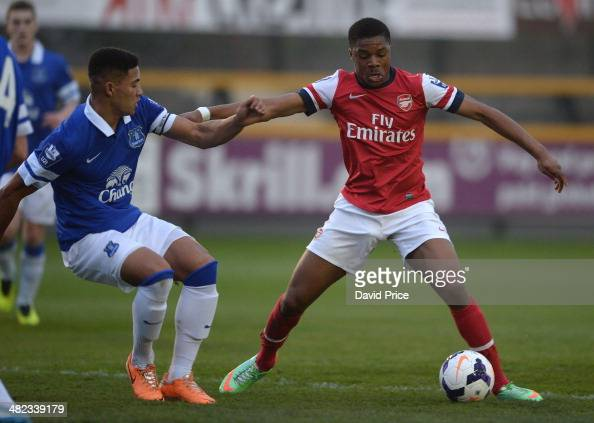 Chuba Akpom Of Arsenal Takes On Tyias Browning Of Everton