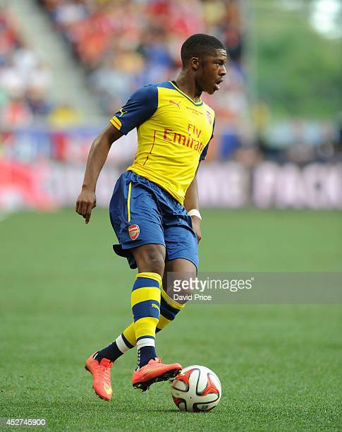Chuba Akpom of Arsenal the pre season match between New York Red Bulls and Arsenal at Red Bull Arena on July 26 2014 in Harrison New Jersey