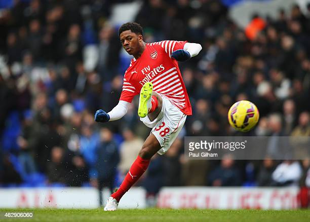 Chuba Akpom of Arsenal warms up prior to the Barclays Premier League match between Tottenham Hotspur and Arsenal at White Hart Lane on February 7...