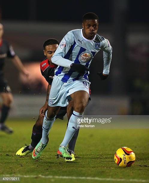 Chuba Akpom of Coventry City in action during the Sky Bet League One match between Coventry City and Carlisle United at Sixfields Stadium on February...