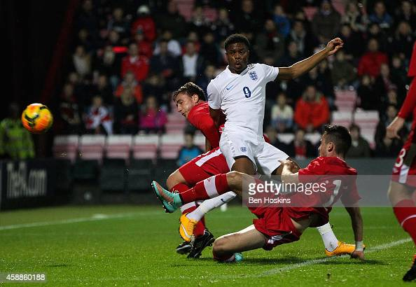 Chuba Akpom Of England Scores The Opening Goal Of The Game