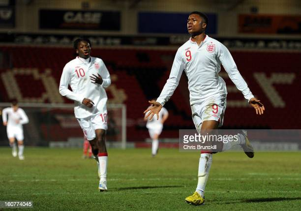 Chuba Akpom of England U19 celebrates scoring the opening goal during the International Match between England U19 and Denmark U19 at Keepmoat Stadium...